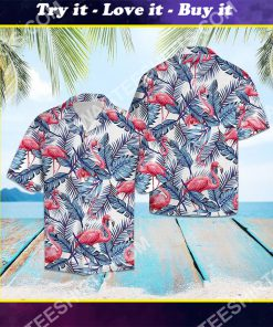 flamingo blue palm leaves all over printed hawaiian shirt