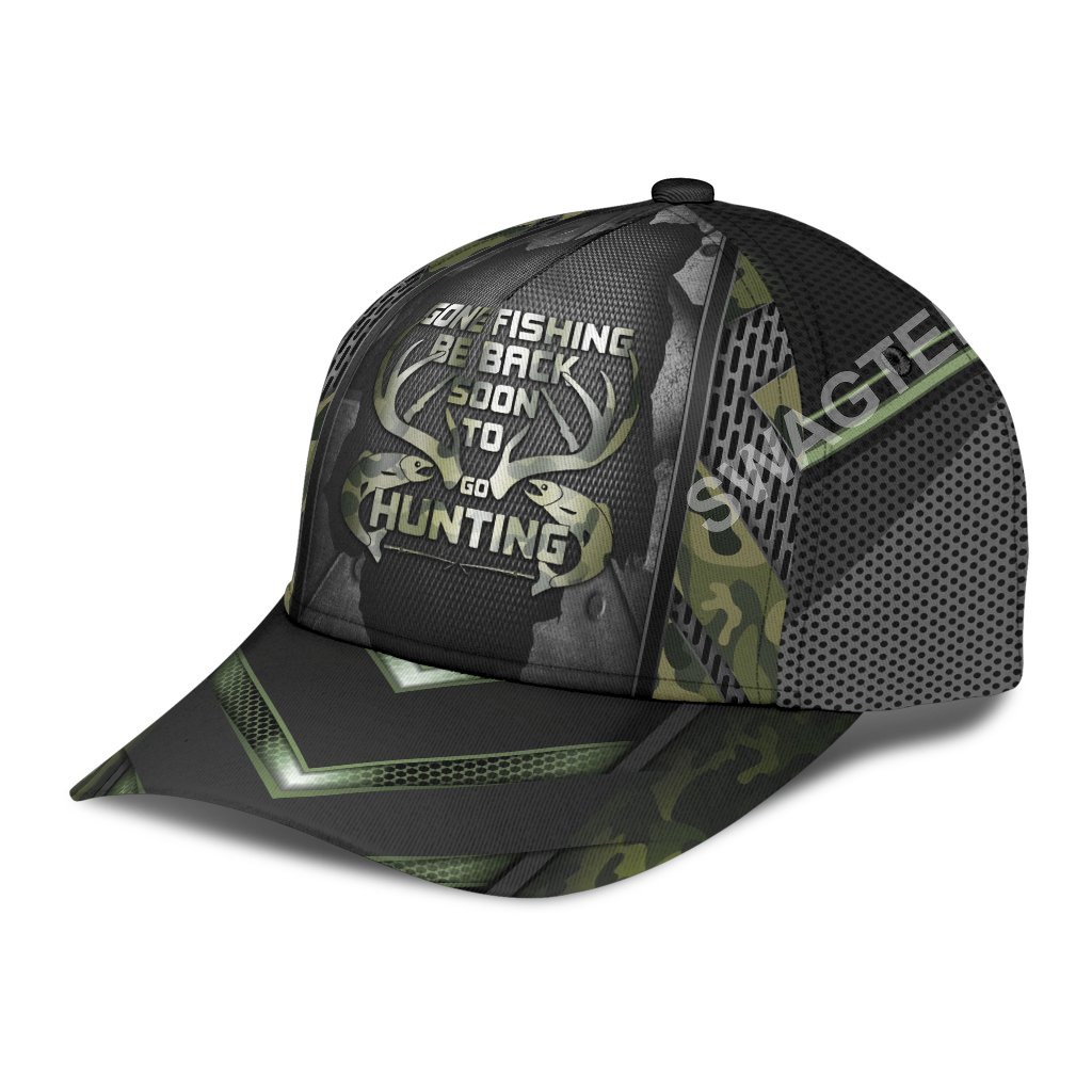 gone fishing be back to go hunting it all over printed cap 4(1)