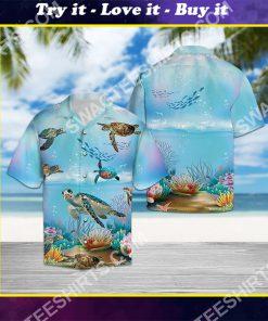 happy sea turtle all over printed hawaiian shirt