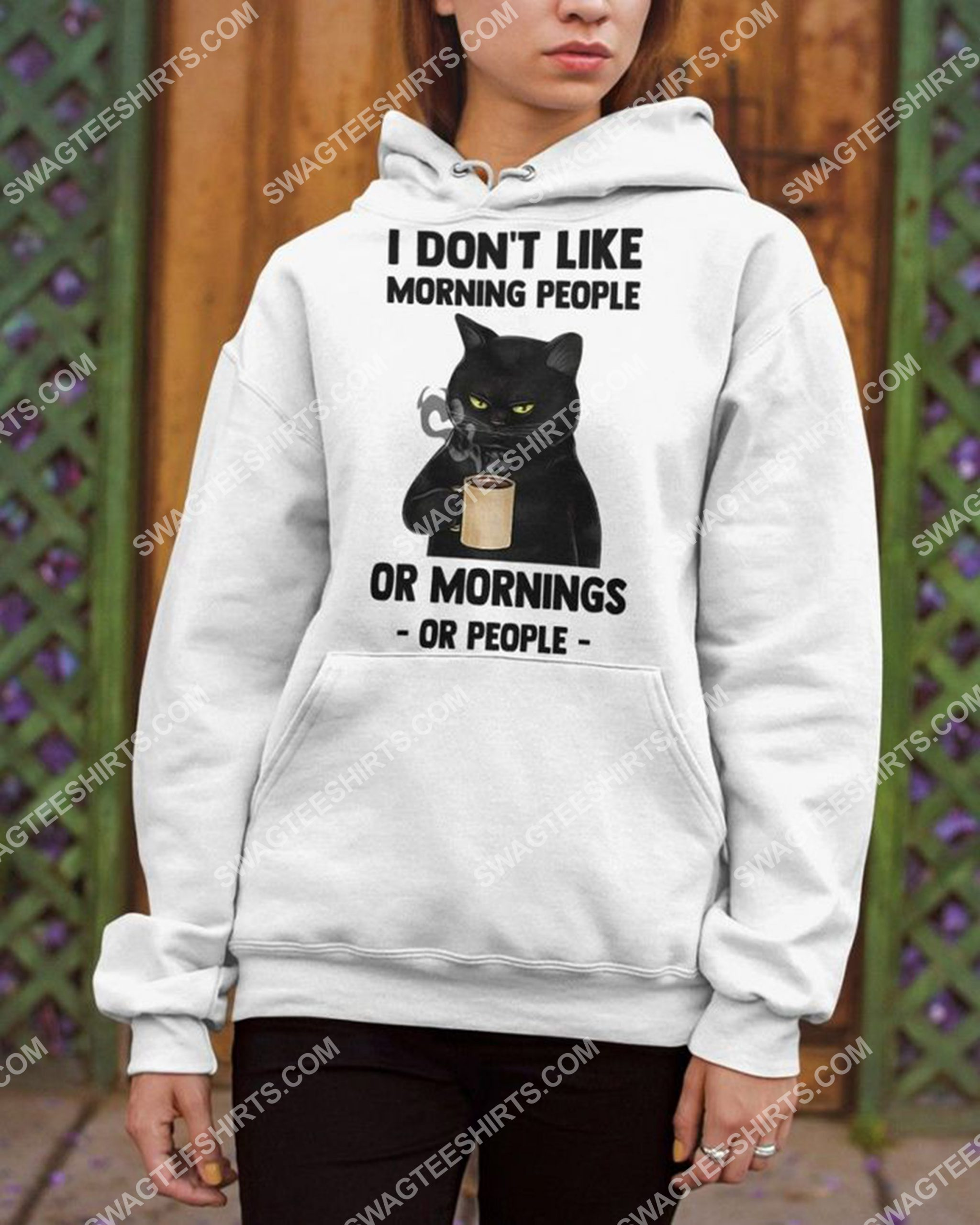 i don't like morning people black cat coffee shirt 3(1)