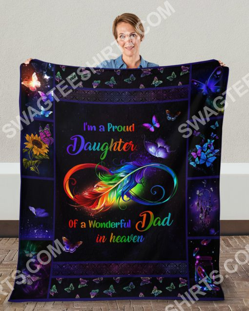 i'm a proud daughter of a wonderful dad in heaven colorful full printing blanket 5(1)