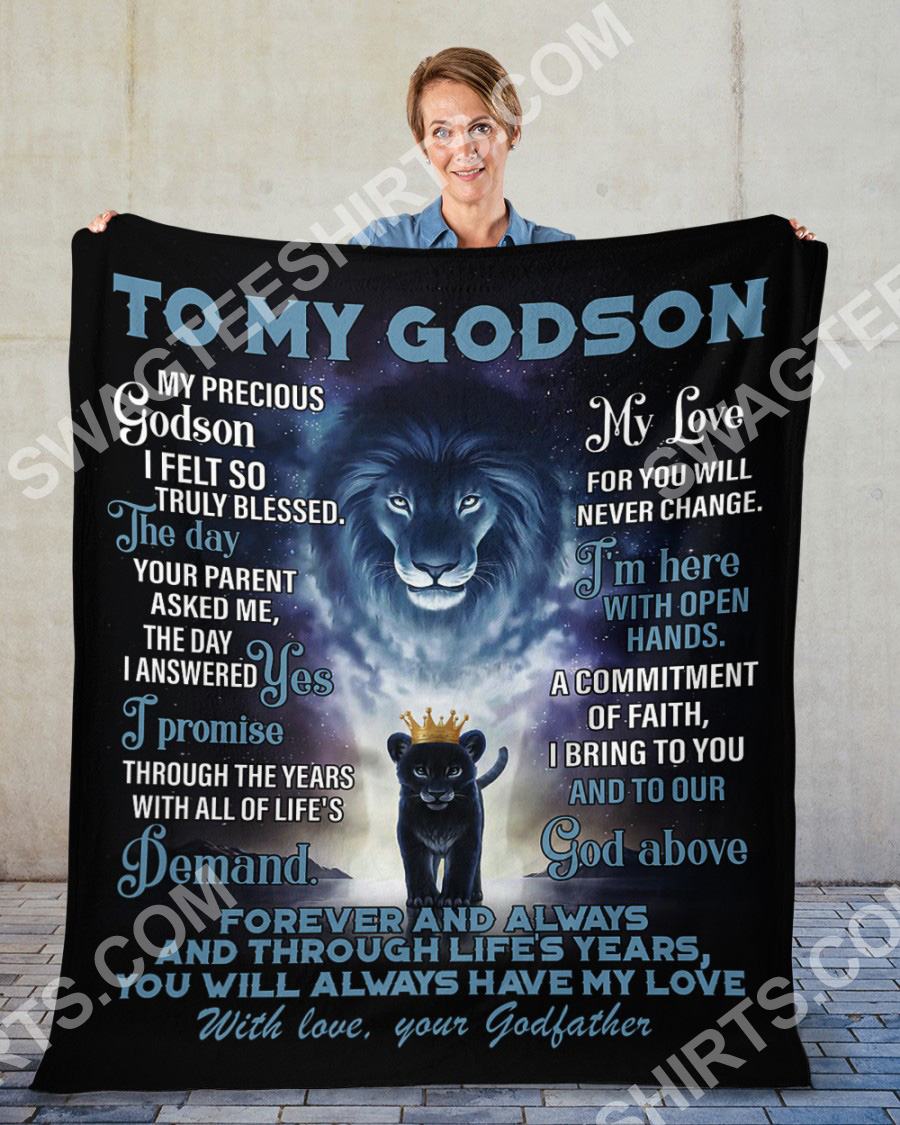 lion to my Godson with love your Godfather full printing blanket 2(1)