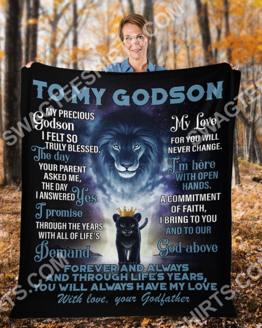 lion to my Godson with love your Godfather full printing blanket 4(1)