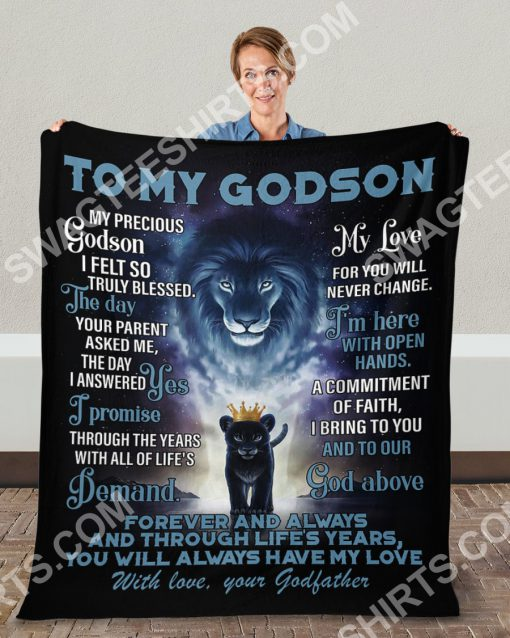lion to my Godson with love your Godfather full printing blanket 5(1)