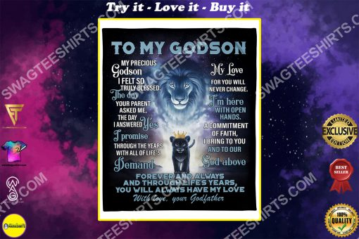 lion to my Godson with love your Godfather full printing blanket