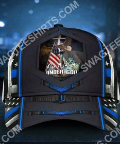 one nation under god liberty thin blue america flag all over printed classic cap 2(1)