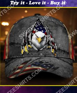 patriotic bald eagle america flag all over printed classic cap