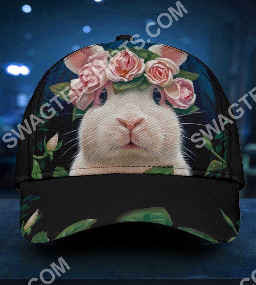 rabbit lovers bunny floral it all over printed cap 2(1)