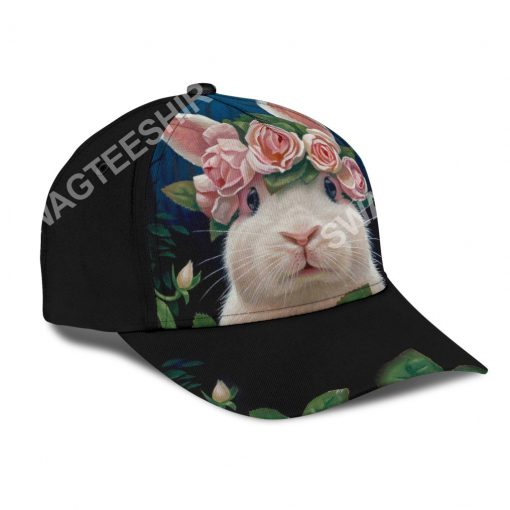 rabbit lovers bunny floral it all over printed cap 3(1)