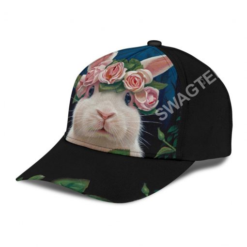 rabbit lovers bunny floral it all over printed cap 4(1)