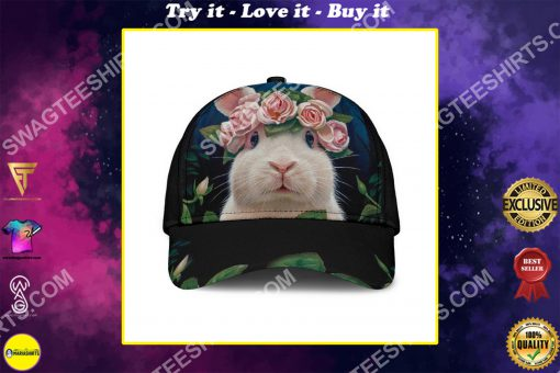 rabbit lovers bunny floral it all over printed cap