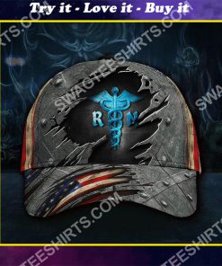 registered nurse america flag all over printed classic cap