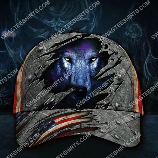 the wolf face america flag all over printed classic cap 2(1)