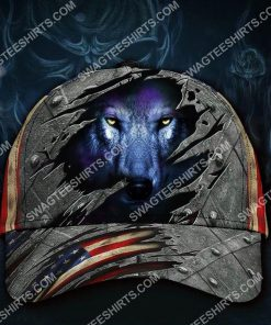 the wolf face america flag all over printed classic cap 2(2) - Copy