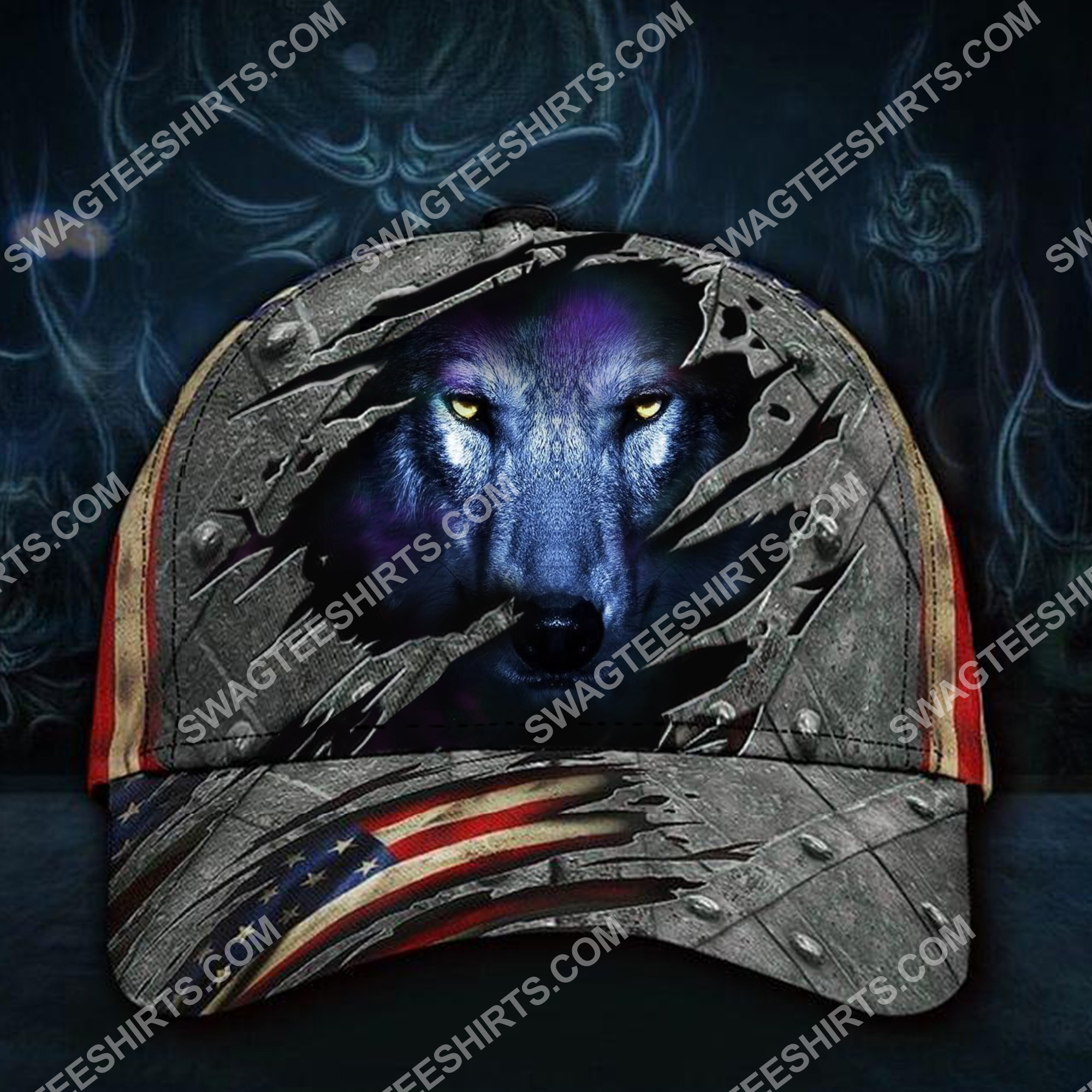 the wolf face america flag all over printed classic cap 2(3) - Copy