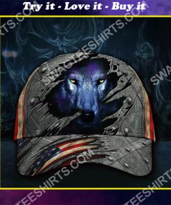 the wolf face america flag all over printed classic cap