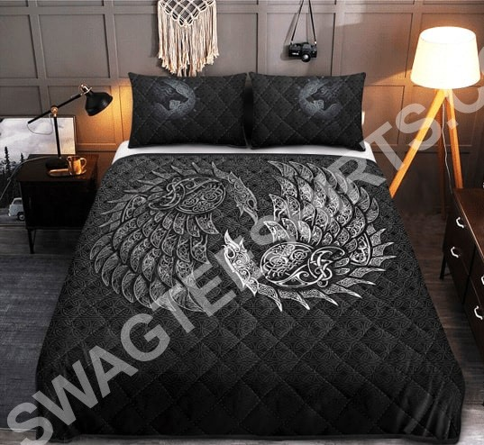 viking raven and wolf all over printed bedding set 2(1)