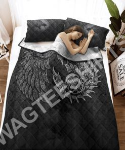 viking raven and wolf all over printed bedding set 3(1)