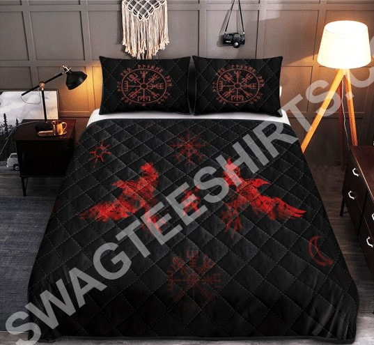 viking raven red all over printed bedding set 2(1)