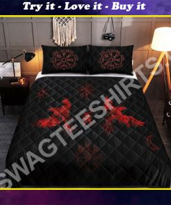 viking raven red all over printed bedding set