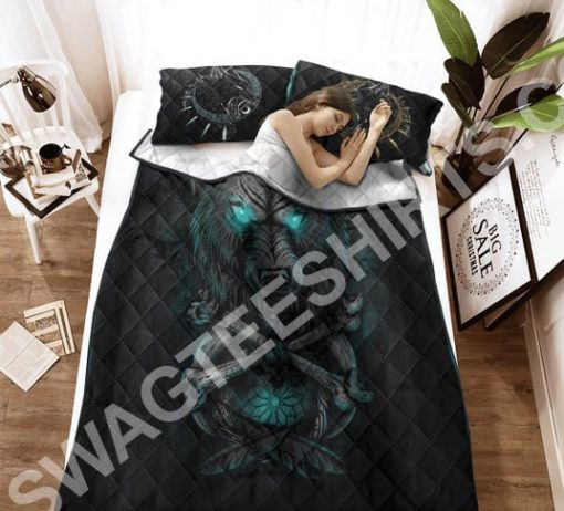 viking wolf with blue eyes all over printed bedding set 2(1)
