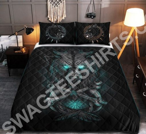viking wolf with blue eyes all over printed bedding set 3(1)