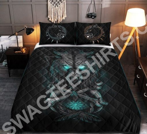 viking wolf with blue eyes all over printed bedding set 3(1) - Copy