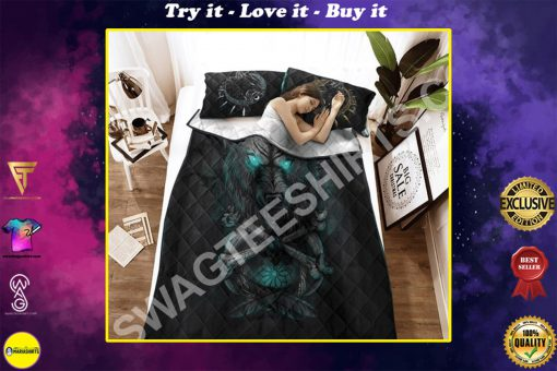 viking wolf with blue eyes all over printed bedding set