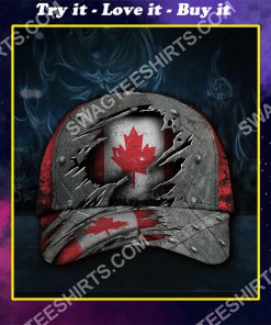vintage canada flag all over printed classic cap