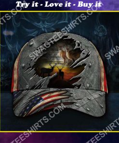 vintage deer hunter america flag all over printed classic cap