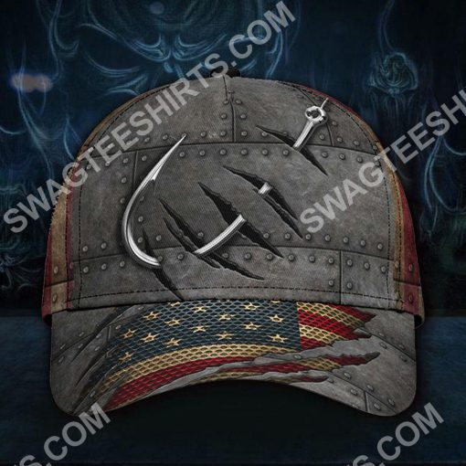 vintage fish hook all over printed classic cap 2(1)