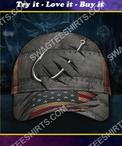 vintage fish hook all over printed classic cap