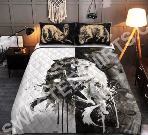 watercolor wolves viking all over printed bedding set 2(1)