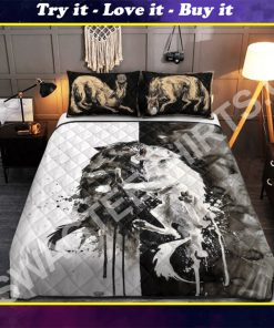 watercolor wolves viking all over printed bedding set