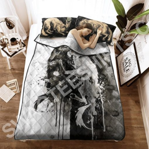 watercolor wolves viking all over printed bedding set 3(1)