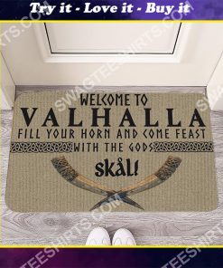 welcome to valhalla all over printed doormat