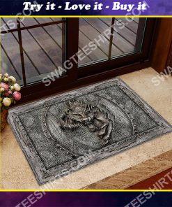 wolf viking metal all over printed doormat