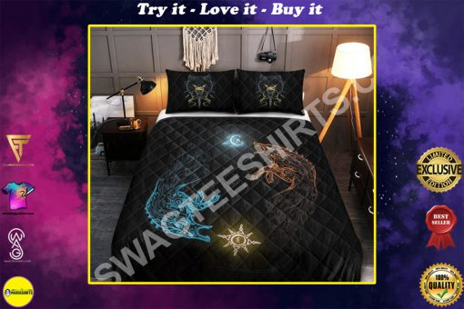 wolves viking all over printed bedding set