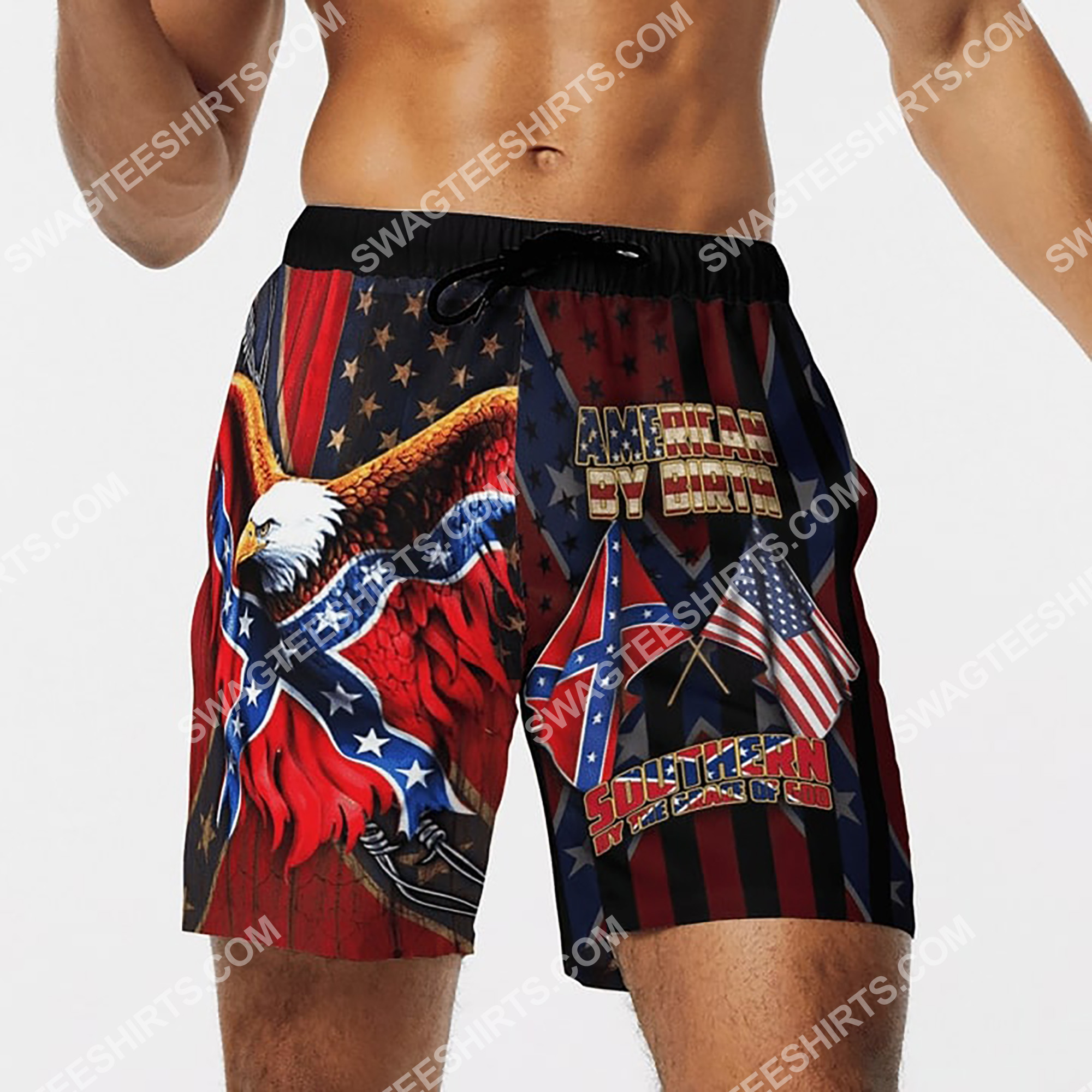 american by birth southern by the grace of God beach shorts 4(1)
