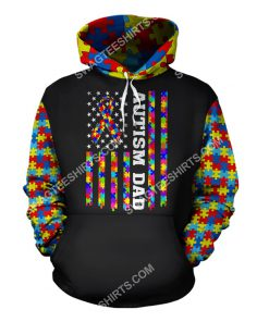 american flag autism awareness autism dad all over printed hoodie 1 - Copy
