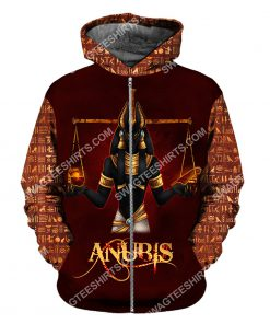 anubis the god of the egyptians all over printed zip hoodie 1