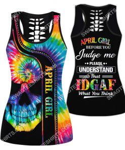 april girl before you judge me please understand tie dye all over printed hollow tank top 1