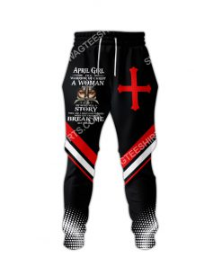 april girl i'm a warrior of Christ a woman of faith all over printed long-pants 1