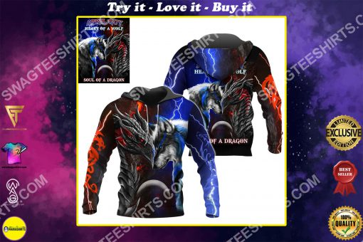 april guy heart of a wolf soul of a dragon all over printed shirt