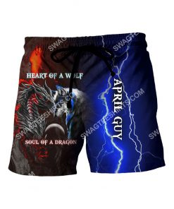 april guy heart of a wolf soul of a dragon all over printed shorts 1