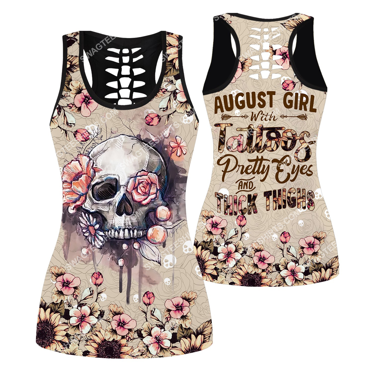 august girl with tattoos pretty eyes and thick thighs floral all over printed hollow tank top 1