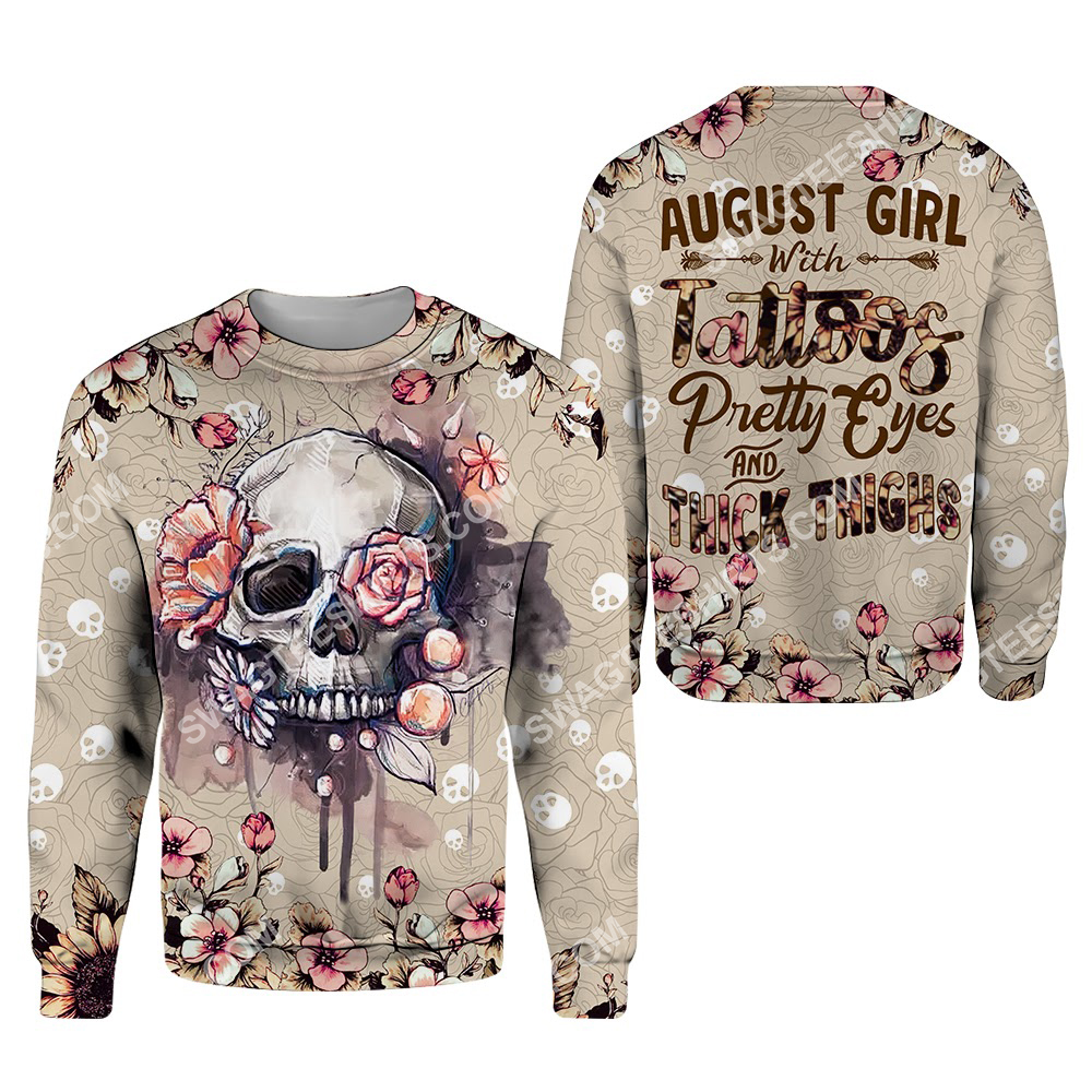august girl with tattoos pretty eyes and thick thighs floral all over printed sweatshirt 1
