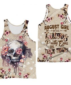 august girl with tattoos pretty eyes and thick thighs floral all over printed tank top 1