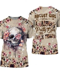august girl with tattoos pretty eyes and thick thighs floral all over printed tshirt 1