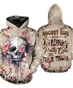 august girl with tattoos pretty eyes and thick thighs floral all over printed zip hoodie 1